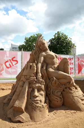 perm: PERM - JUNE 10  Sand sculpture Love is flame at festival White Nights, on June 10, 2012 in Perm, Russia  Editorial
