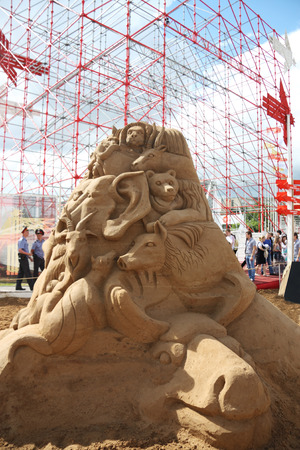 PERM - JUNE 10  Sand sculpture Animals at festival White Nights, on June 10, 2012 in Perm, Russia