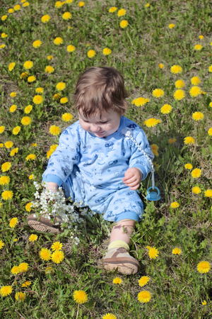 Happy baby holds flowers and sits on green meadow with yellow dandelions photo