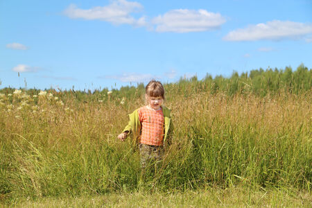Little beautiful girl goes among grass at green meadow in sunny day photo