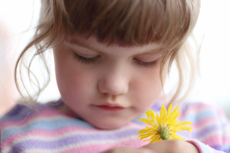 squirm: Little beautiful girl with closed eyes holds small yellow flower Stock Photo
