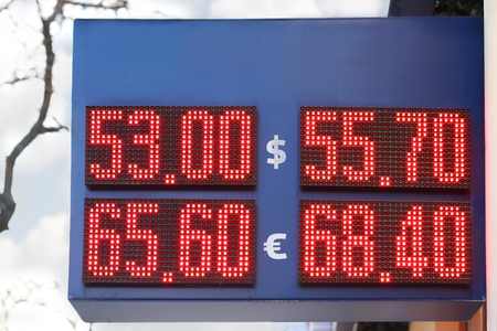 Street display with red digits exchange rates - dollar and euro. Due to conflict in Ukraine ruble falls and dollar strengthened