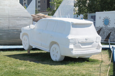 PERM, RUSSIA - JUN 11, 2013: Fictional sport utility vehicle foam in festival town Editorial