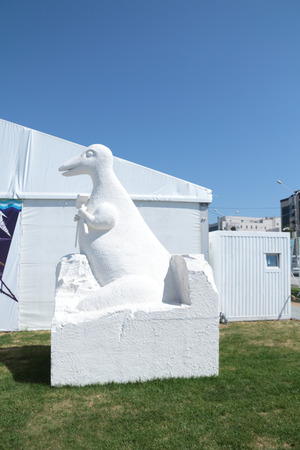 polyfoam: PERM, RUSSIA - JUN 11, 2013: Dinosaur sculpture of polyfoam on festival White Nights in Perm