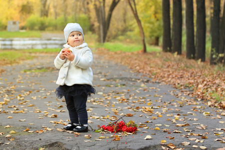 pit fall: Little cute girl in white stands near red rowanberry in autumn park Stock Photo