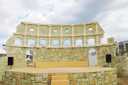 nights: PERM, RUSSIA - JUNE 18, 2014: Improvised Colosseum for performing at open air festival White Nights