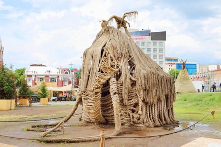 nights: PERM, RUSSIA - JUNE 18, 2014: Rope sculpture Mammoth at open air festival White Nights