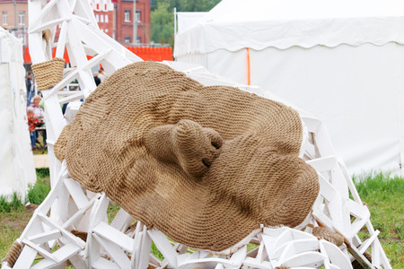nights: PERM, RUSSIA - JUN 12, 2014: Rope sculpture Face at festival White nights Editorial