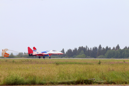 mig: PERM, RUSSIA - JUN 27, 2015: Landing Mig 29 Swift on airshow Wings of Parma