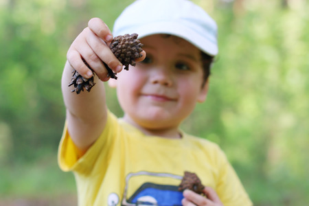 dof: Happy cute boy shows pine cones in forest, shallow dof, focus on hand