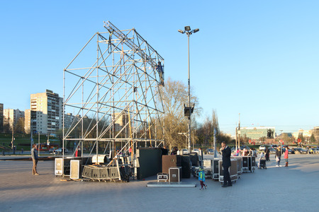 the case before: PERM, RUSSIA - APR 26, 2016: Installation of stage in city center before May 1 holidays (Day of Spring and Labor)