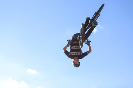 PERM, RUSSIA - August 20, 2016: Man involved in the event of extreme jumps in aeromat,  the Championship of Perm Krai jump aeromat