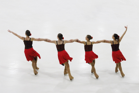 PERM, RUSSIA - DEC 28, 2016: Juniors team performs at Open Cup of Perm region in synchronized skating in Sports Palace Eaglet Editorial