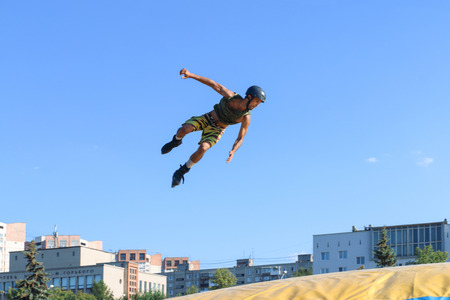 PERM, RUSSIA - August 20, 2016: Extreme athlete jumps during the event, the Championship of Perm Krai jump aeromat Editorial