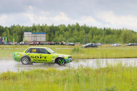 PERM, RUSSIA - JUL 22, 2017: Drifting car on track at Open Ural Championship Drift 2017