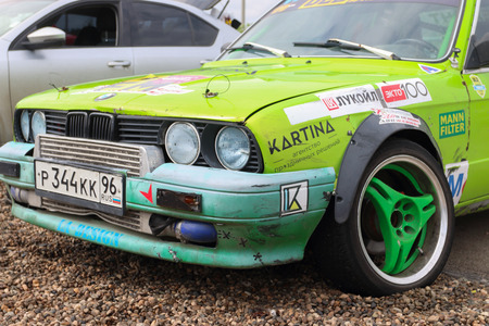 ural: PERM, RUSSIA - JUL 22, 2017: Competitor car with sponsors advertising at Open Ural Championship Drift 2017 Editorial