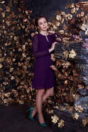 Pretty woman in dress stands in studio with fireplace and golden leaves Standard-Bild