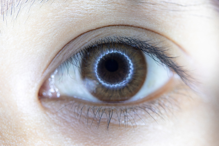 Close up of beautiful woman eye and contact lens. Standard-Bild