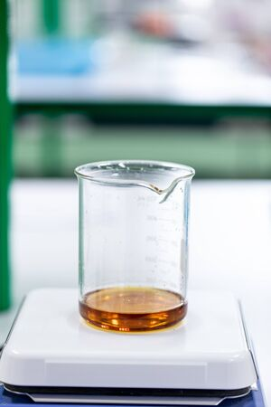 Biodiesel production is the process of producing the biofuel, biodiesel, in laboratory. Stock Photo