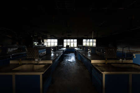 Science lab caused by fire. Banque d'images