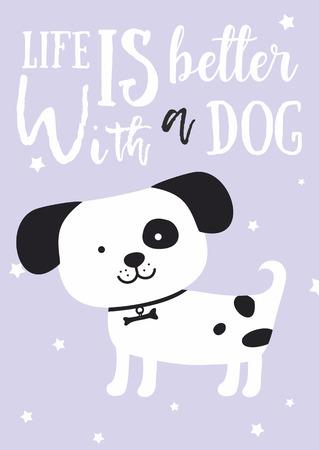 cute dog smile with black ears. Children's illustration. lettering