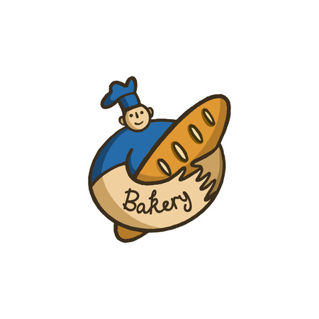 vector bakery , round label male chef in cap with loaf in modern style.