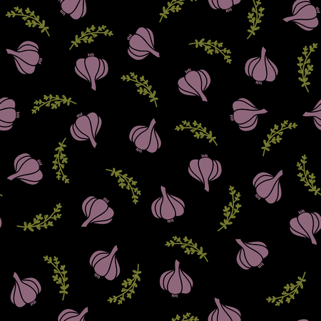 vector seamless pattern with illustration of garlic and thyme on black background. design of paper packaging of spices, for fabric and for web design