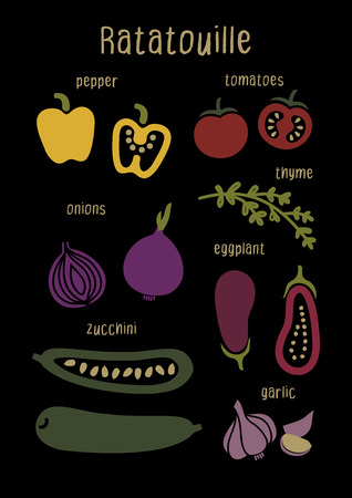 Ingredients vegetables for Ratatouille. Set of vegetables on a black background in a modern style. Poster, postcard, menu, print, with eco food, for vegetarian cafe and restaurant Çizim