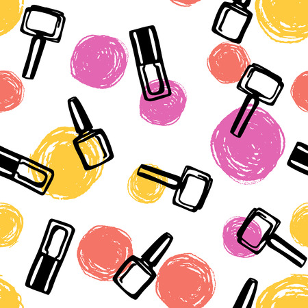 Seamless pattern with nail polish and color dots. Cosmetics and beauty sketch background