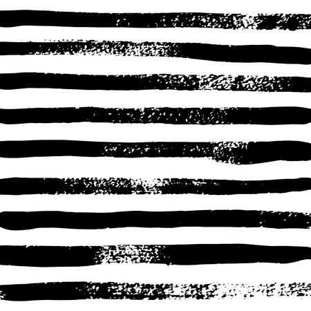 Fond rayé noir et blanc de vecteur, rayures noires d'aquarelle sur le fond blanc dans le style grunge, pinceau dessiné à la main
