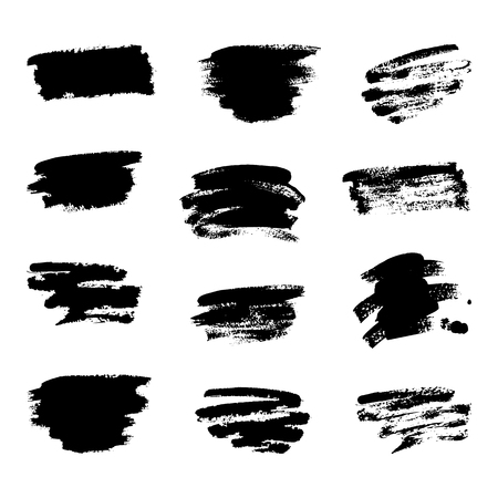 Vector elements of hand draw brush paint stroke collection on white background. Dirty artistic design elements, boxes, frames and patterns.