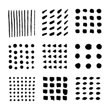 Vector elements of hand draw brush paint stroke collection on white background. Dirty artistic design elements, boxes, frames and patterns. isolated point elements, triangles, circles