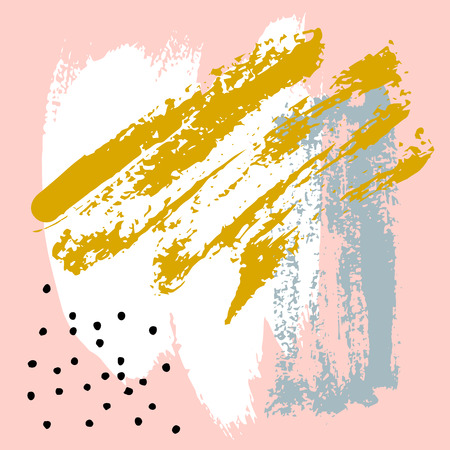 Hand painted brush strokes in pink, mustard, grey, white and black. Seamless vector abstract pattern, background of texture brush strokes and spots, dots for fabric design, different web designs Archivio Fotografico - 124490033