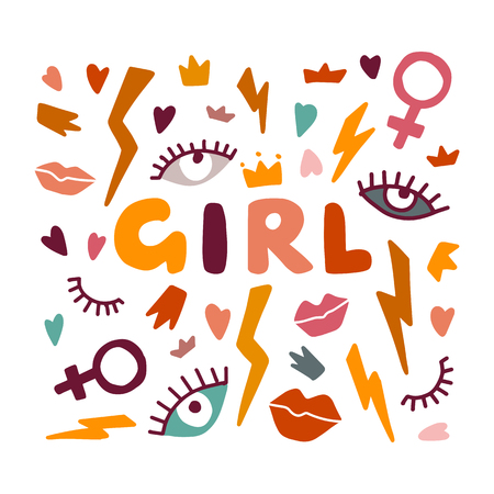 Girl Power. Feminism concept. Illustration