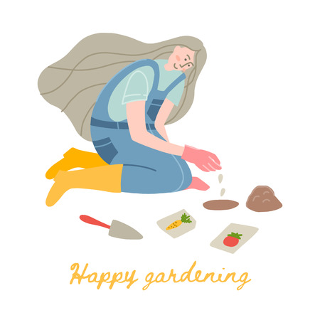 Vector illustration of a woman gardener in yellow rubber boots. A young woman works in the garden or on the farm. Plant vegetable seeds. Illustration