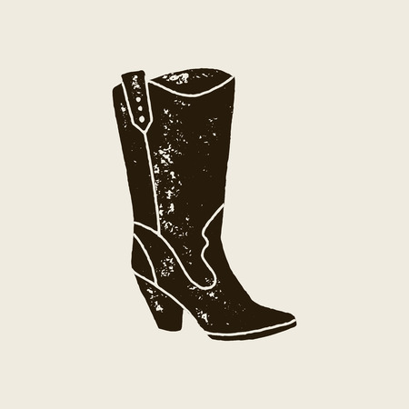 Cowboy boots silhouette in retro style Vetores