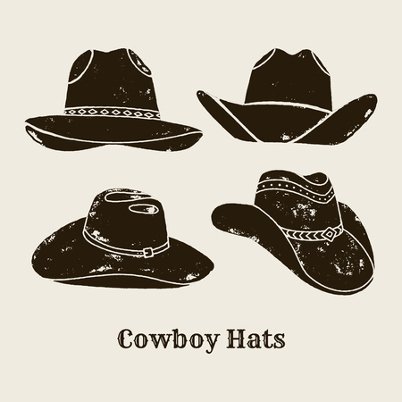 Vector Set of Different Cowboy Hats silhouette