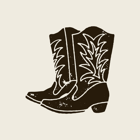 Cowboy boots silhouette in retro style Illustration