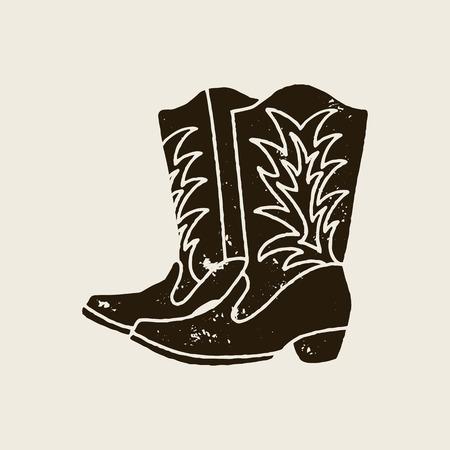 Cowboy boots silhouette in retro style Ilustração