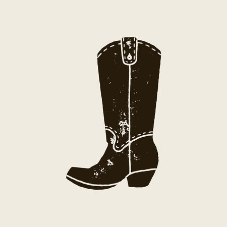 Cowboy boots silhouette in retro style Иллюстрация