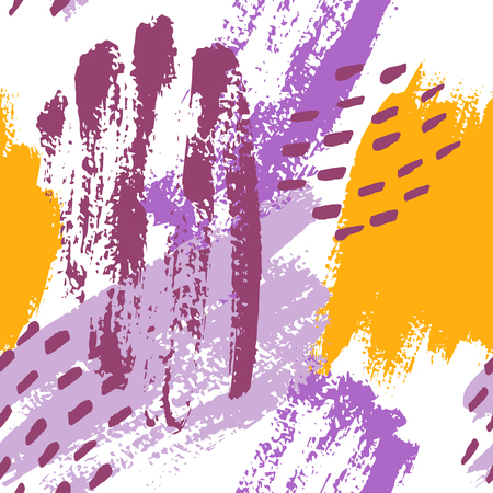 Hand painted brush strokes in mustard, purple, lilac and white. Seamless vector abstract pattern, background of texture brush strokes and spots, dots for fabric design, different web designs Ilustração