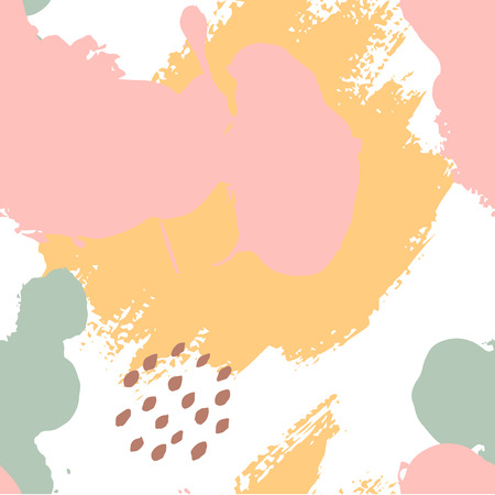 Hand painted brush strokes in pink, mustard, mint, brown, white. Seamless vector abstract pattern, background of texture brush strokes and spots, dots for fabric design, different web designs