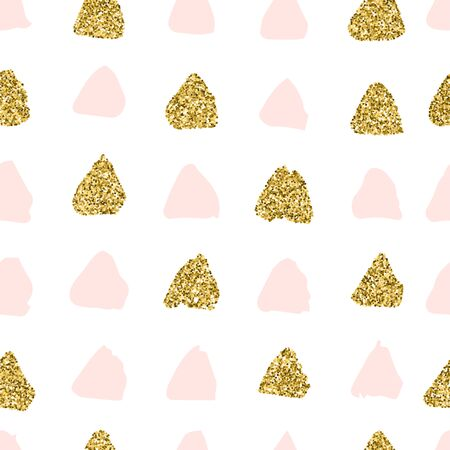 Pink and Gold Hand Draw seamless pattern of triangles. Vector endless texture and pastel colours of glitter. Notebook cover, fabric print, postcard, background for social media