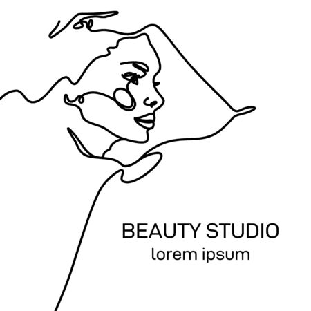 Logo template for Beauty Studio. A womans face in profile in the trendy style of outline. Abstract minimalistic linear sketch. Vector illustration of beautiful woman for logo design of beauty salons