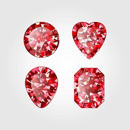 Set of Realistic Red ruby Diamond isolated on white background. Vector illustration of scarlet gemstone. Luxury shiny jewel. Stock Illustratie