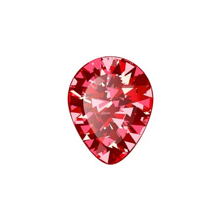Realistic Red ruby Diamond drop isolated on white background. Vector illustration of scarlet gemstone. Luxury shiny jewel.