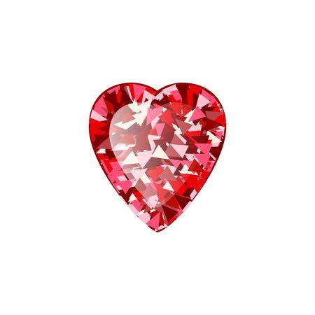 Realistic Red ruby Diamond Heart isolated on white background. Vector illustration of scarlet gemstone. Luxury shiny jewel. Stock Illustratie