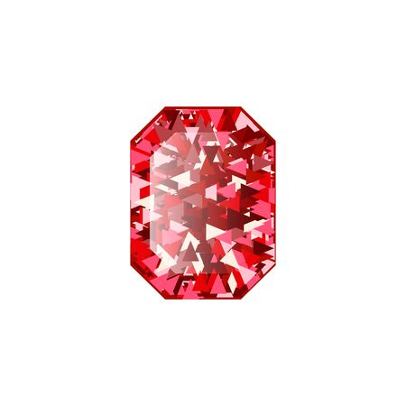 Realistic Red ruby Diamond isolated on white background. Vector illustration of scarlet gemstone. Luxury shiny jewel. Stock Illustratie