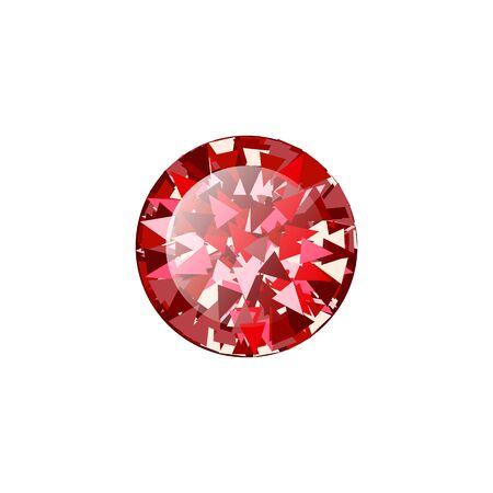 Realistic Red ruby Diamond round isolated on white background. Vector illustration of scarlet gemstone. Luxury shiny jewel.