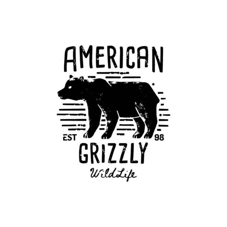 Vintage Grizzly Bear Logo Hand Draw. Vector Symbol Of Wild America, The Silhouette Of A Bear. Vintage typography. Template for print, poster, t-shirt, cover, banner or other business or art works.